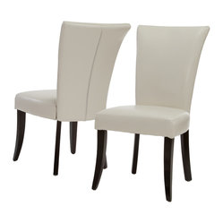 Great Deal Furniture - Monroe Ivory Leather Dining Chairs (set of 2) - With the unique flared seat, softly padded seat and back, and overall comfortable upholstery, you simply can't go wrong with the Monroe Dining Chairs.