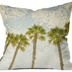 DENY Designs - Shannon Clark Palm Trees Throw Pillow - Wanna transform a serious room into a fun, inviting space? Looking to complete a room full of solids with a unique print? Need to add a pop of color to your dull, lackluster space? Accomplish all of the above with one simple, yet powerful home accessory we like to call the DENY throw pillow collection! Custom printed in the USA for every order.