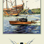 Buyenlarge - Flags and Boat (Dodge Boats) 12x18 Giclee on canvas - Series: Boating & Leisure