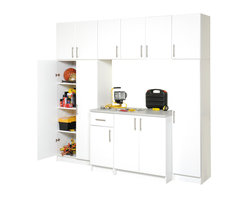 Prepac - 8 Pc. Cabinet Garage Storage System Set in Wh - With this eight-piece garage storage set you've got room to work as well as store lots of stuff! The bright white color gives it a clean look at all times and with the adjustable shelves you create the space you need. The answer to your garage organization dilemma is here - this eight-piece white finished cabinet system has lots of storage room with adjustable shelves you can use to your best advantage. Better still the system doesn't take up your entire garage since it's built upward. * Set includes cabinet with heavy duty countertop, broom cabinet, wardrobe cabinet with shelves base unit with 1 drawer and overhead units. Constructed from high quality laminated composite woods. ELITE's quality features include distinctive soft edged doors. Designer hardware. Attractive finishes and European style hinges. Assembly required. 5-Year limited warranty on replacement parts. 16 in. Broom Cabinet: 16 in. W x 16 in. D x 65 in. H. 16 in. Base Cabinet: 16 in. W x 24 in. D x 36 in. H. 16 in. Topper & Wall Cabinet: 16 in. W x 16 in. D x 24 in. H. 32 in. Storage Cabinet: 32 in. W x 16 in. D x 65 in. H. 32 in. Base Cabinet: 32 in. W x 24 in. D x 36 in. H. 32 in. Topper & Wall Cabinet: 32 in. W x 16 in. D x 24 in. H
