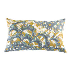 """Koko Company - Mikros Pillow, Blue and Yellow, 15"""" x 27"""" - Inspired by minute organisms in mineral colors."""