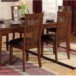 Standard Furniture - Regency 8 Pc Dining Set w Sideboard in Cherry - Set includes table, 6 side chairs and sideboard. Assembly required. Functional server features 2 cupboards and a wine rack for storage, as well as a bottom shelf. Tapered legs provide a sleek and sturdy anchor. Upholstered chair seats provide comfort and design appeal. Surfaces clean easily with a soft cloth. Quality veneers over wood products and select used throughout. May contain some plastic parts. Aged vintage Sienna Brown finish. Table: 78 in. L x 42 in. W x 30 in. H (141 lbs.). Sideboard: 52 in. W x 18 in. D x 36 in. H (132 lbs.). Chair height: 40 in.. Chair weight: 42 lbs.Regency features unique simplicity coupled with an updated design blend making it the perfect complement to your home.
