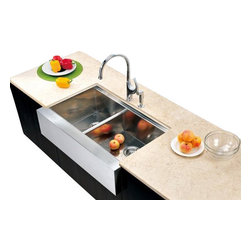 Dawn - Dawn Kitchen DAF3321L Under Mount Apron Front Sink With Small Bowl On Left - Dawn products are designed to create a harmonious combination of pragmatism and elegance. Considering the kitchen and bathroom the soul of a home Dawn brings function and aesthetics together to make your spaces comfortable and enjoyable. Dawn sinks are formed from 16 18 or 20 gauge 304 type stainless steel reinforced with satin polished finish and sound absorption pads to ensure durability hygiene and longevity. They are of smooth and contemporary design to compliment any home.