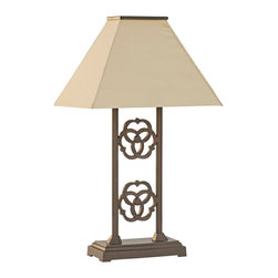 """Lamps Plus - Rustic - Lodge Renaissance Bronze Indoor/Outdoor Solar Table Lamp - Solar-power outdoor table lamp. Speckled bronze finish. Antique beige Sunbrella canvas shade. Aluminum construction. Solar powered no cord can be used inside or outdoors. Charges automatically in sunlight. Photosensor turns light on at night off at daylight. 3 light levels: low lasts 8 hours per charge medium 6 hours and high 4 hours. Includes 4 high-output LEDs and 3 rechargeable 1500 MaH AA NI-MH batteries. 5.5 V300mA polycrystalline laminated solar panel included. Made in the USA.  Solar-power outdoor table lamp.  Speckled bronze finish.  Antique beige Sunbrella canvas shade.  Aluminum construction.  Solar powered no cord can be used inside or outdoors.  Charges automatically in sunlight.  Photosensor turns light on at night off at daylight.  3 light levels: low lasts 8 hours per charge medium 6 hours and high 4 hours.  Includes 4 high-output LEDs and 3 rechargeable 1500 MaH AA NI-MH batteries.  5.5 V300mA polycrystalline laminated solar panel included.  Made in the USA.  28"""" high.  Shade is 19"""" wide 13"""" deep."""