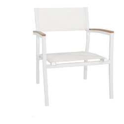 Riviera Club Chair, White - Want the look of wood but not the maintenance? The Riviera Collection brings you just that! Made of a powder coated aluminum frame and polywood, with textilene sling seats, this stunning collection will look brand new for years!  Perfect for the commercial property to withstand the elements of the outdoors along with the heavy overturn of customer use.  Available in a teak color polywood and white powder coated aluminum framing or taupe color polywood with taupe powder coated aluminum framing.