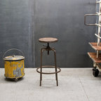 Heavy-Duty Vintage Industrial Stools - USA, c.1950s. Heavy-Duty Vintage Industrial Green Stools, also with Old Vintage Industrial Office Chair, c.1930s, FM Company Waste Can, c.1940s. and Wire Trash Can, c.1930s.