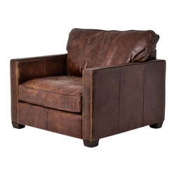 Four Hands - Larkin Club Chair, Cigar - You can get the timeless look of time-worn leather in a top-quality, modern interpretation. The clean lines, nailhead trim and curl-worthy, hand-aged leather will quickly make this your favorite go-to club chair. It would be great in your library, man cave or media room — or picture its warm texture in a mostly white, nature-inspired living room.