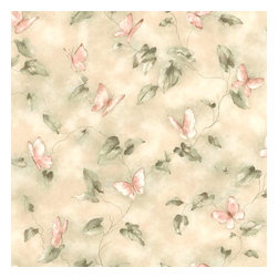 Brewster Home Fashions - Aveline Pink Butterfly Trail Wallpaper Bolt - A whimsical wall paper design of pretty pink butterflies fluttering between an elegantly winding vine trail.