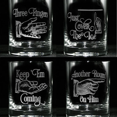 Whiskey, Scotch, Bourbon Glasses Gifts for Housewarming, Thank You, Weddings - Personalized custom whiskey, scotch and bourbon glasses are the perfect gift for bridal shower, engagement, wedding, birthday and for the man or woman who has everything. Real estate agents and interior designers often give our personalized barware to special clients as housewarming or thank you gifts. Not engraved, but deeply sand carved, each of our glasses is hand crafted. The background is carved away, leaving the monogram and design raised from the glass in a 3D manner. Simply exquisite. Crystal Imagery