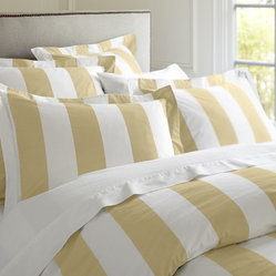 PB Classic Stripe 400-Thread-Count Duvet Cover, Honeycomb