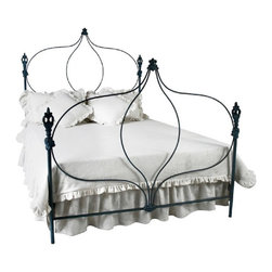 Corsican - Custom Onion Bed in old grecian blue finish, Queen - Corsican has been in business over 40 years. Their entire focus is making wrought iron furniture. Many of their skilled craftsman are second generation.