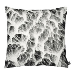 By Nord Copenhagen - Ice Structure Decorative Pillow - We love the graphic look of this photograph of ice, its adds some unexpected natural yet modern contrast to any interior. Printed as a digital photo print in the recognized cotton canvas quality from By Nord. Imported from Denmark.