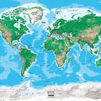 """World Map Wall Mural - Topography - 8 panel - 142"""" x 96"""" - This topographic map of the world illustrates topography and ocean bathymetry using colorful bands of shading. Gorgeous shaded relief detail featured on the map is derived from SRTM (Shuttle Radar Topography Mission) data collected by NASA. The large wall mural size map is perfect for a home, office, public lobby, or a classroom. The map is up-to-date with all the latest international name changes up to 2012. Indicated on the map are major cities, capitals, rivers, lakes, glaciers, mountain peaks, and latitude/longitude lines. Country political boundaries are clearly outlined in red. Color legend makes identifying land elevation and ocean depths simple. We offer this map in an easy to install peel and stick fabric. The self-adhesive peel and stick fabric is resistant to water, wrinkles, bubbling and tears. Unlike traditional wallpaper murals, this fabric goes up without causing any damage to the wall and will leave no residue. Since the adhesive fabric is repositionable you can simply peel it off and transfer it to another location."""