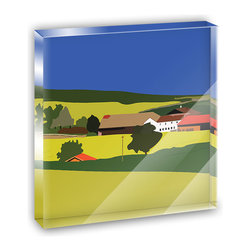 """Made on Terra - Red Roof Farm Rolling Yellow Hills Landscape Mini Desk Plaque and Paperweight - You glance over at your miniature acrylic plaque and your spirits are instantly lifted. It's just too cute! From it's petite size to the unique design, it's the perfect punctuation for your shelf or desk, depending on where you want to place it at that moment. At this moment, it's standing up on its own, but you know it also looks great flat on a desk as a paper weight. Choose from Made on Terra's many wonderful acrylic decorations. Measures approximately 4"""" width x 4"""" in length x 1/2"""" in depth. Made of acrylic. Artwork is printed on the back for a cool effect. Self-standing."""