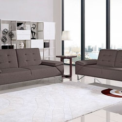 Briza Modern Brown Fabric Sofa Bed - The Briza Sofa Bed features a fold down backrest and folding armrests to make the transition from sofa to bed easier. Upholstered in brown fabric with a tufted backrest, the Briza will fit well with any interior. Triangular stainless steel legs complement the contemporary styled sofa. Also available with a loveseat.