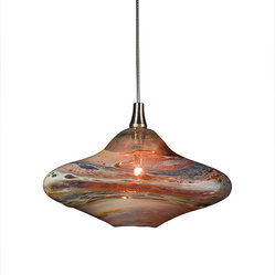 Shakuff - Genie Glass Pendant Light, Amber Multi - Why settle for a basic pendant light when you can hang a work of art? Cast an amber glow in your home with this hand-blown glass light featuring strands of color weaving around the uniquely formed pendant.