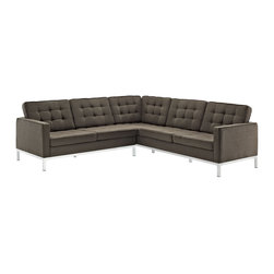East End Imports - Loft L-Shaped Wool Sectional Sofa - Chocolate - What makes the Loft series so complete? At first glance, it displays a pleasant linear design with an external tubular stainless steel frame. The back and seat are tufted and buttoned to enhance the overall richness of the piece. From amidst the steel base, a comfortable seating experience is attained. The Loft series is the preferred choice for reception areas, living rooms, hotels, resorts, restaurants and other lounge spaces.