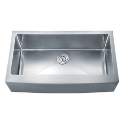 """Dowell - Dowell 35"""" x 20"""" Undermount Handcrafted Small-Radius Corner Single Bowl Sink - Grid & Strainer included"""