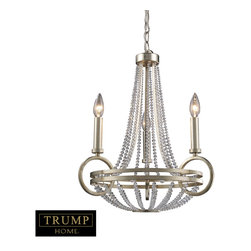 """Elk Lighting - New York 3-Light Chandelier in Renaissance Silver - Taking styling cues from the art deco period, the Trump Home New York Collection features clean lines and unique design elements. The lights are supported by rings that gracefully �float"""" around a larger double ring. Finished in renaissance silver leaf with cream fabric shades, this series is versatile and contemporary. Shades are optional on items with crystal."""