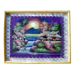 Oriental-Décor - Framed Purple Moon - This impressionistic rendering of a small village in the light of the moon will add a distinctive note of Thailand to your decor. Rich colors and special brush strokes are used to create a serene, tropical atmosphere.