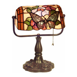 Warehouse of Tiffany - Tiffany Style Banker Butterfly Desk Lamp - Illuminate your work station while adding a touch of color with this bright banker's desk lamp. The stained glass frame features a detailed butterfly design that could also work in a child's bedroom. The pull chain makes it easy to turn the light on.