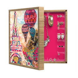 DENY Designs - Natasha Wescoat Balloons Sur Paris BlingBox Petite - Handcrafted from 100% sustainable, eco-friendly flat grain Amber Bamboo, DENY Designs BlingBox Petite measures approximately 15 x 15 x 3 and has an exterior matte cover showcasing the artwork of your choice, with a coordinating matte color on the interior. Additionally, the BlingBox Petite includes interior built-in clear, acrylic hooks that hold over 120 pieces of jewelry! Doubling as both art and an organized hanging jewelry box, It's bound to be the most functional (and most talked about) piece of wall art in your home! Custom made in the USA for every order.