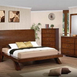 Acme Furniture - Galleries Brown Cherry Queen Platform Bed with Panel Headboard - Galleries Collection Queen Bed