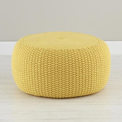 Yellow Braided Pouf - I thought the braided texture of this pouf was unique, and I love the mustard hue.