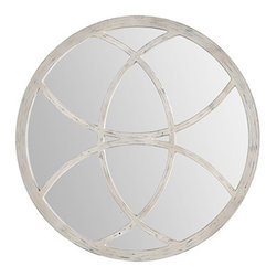 Ren-Wil - Ren-Wil MT1365 Campania Round Mirror in White Wash by Kelly Stevenson - The Campania features a beautiful circular design with a white wash finish set on a polish mirror.