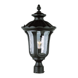 "Trans Globe Lighting - Trans Globe Lighting 5913 BK Rustic Contemporary 21"" Post Mount Lamp - Boston American design in outdoor landscape light fixtures with deep archways filled with watered glass. Soft glow across plants and lawn areas. Fine patio seating light."