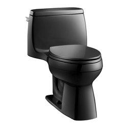 KOHLER - KOHLER K-3810-7 Santa Rosa Comfort Height One-Piece Compact 1.28 GPF Toilet - KOHLER K-3810-7 Santa Rosa Comfort Height One-Piece Compact Elongated 1.28 GPF Toilet with Class Five flush system in Black Black