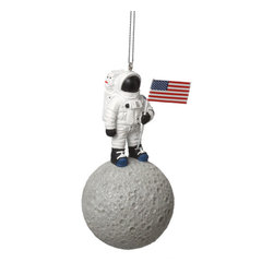 Midwest CBK - Astronaut on Moon Christmas Tree Ornament - NASA Space Holiday Gift Decoration - USA Astronaut on the Moon Christmas Ornament