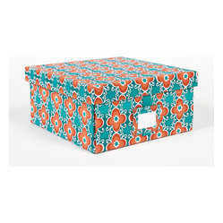 Working Class Studio - Re-Gift Collection Flora Box, Teal, Medium - Great things come in pretty packages. Anything you give in this peppy floral box, complete with its own ID tag, is sure to be cherished.