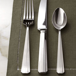 "Lauren Ralph Lauren - Lauren Ralph Lauren Five-Piece ""Wentworth"" Flatware Place Setting - A sleek, linear design accented with cut corners on the handles and just enough of a design to add a bit of texture makes this flatware ideal for both casual and formal settings. Made of 18/10 stainless steel. Dishwasher safe. Five-piece place settin..."