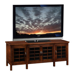 "Leick Furniture - ""Leick Furniture 60"""" TV Stand w/ Black Glass, Chocolate Cherry"" - ""The rich, chocolate finish, complemented with decorative black glass behind a unique grid door, puts forth a fresh, youthful air...while also cleaning up clutter and tucking it behind opaque glass door panels.Dimensions (W x L x D): 18"""" x 60"""" x 24""""Material: Hardwood solids & veneersFinish: Chocolate CherryCountry of Origin: ChinaHolds TV's up to 62""""Tempered black glass doors behind wood gridAdjustable shelves in component area and behind doorsBlack grid textured hardware. 260 lb. weight bearing capacity. Perforated back for wire management. Simple, unfolding assembly. Generous floor clearance for easy vacuum access."""