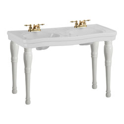 "Renovators Supply - White China Double Console Sink Belle Epoque 4"" - Double Vanity Sink: Belle Epoque double deluxe."