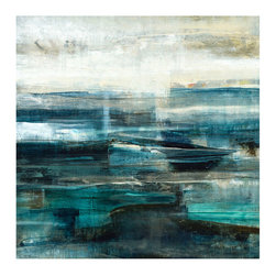 Cyan Unframed Giclee with Marble Glaze Finish - When you want an abstract print to set the tone for a room, choose one with a well-composed palette and a striking sense of atmospheric depth. Cyan is a study in broad, heavy brushwork, built from layers of rich, saturated turquoise and a cool dark puce that borders fields of deep purple and moody brown. A lighter upper half to the painting keeps its visual weight balanced.
