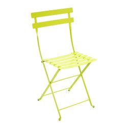 Bistro Metal Chair, Verbena - A bistro chair will always fit in, no matter the space. And this neon yellow will step up and bring a bit of modern flair.