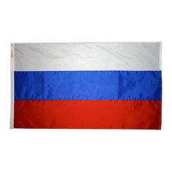 Flagline - Russia - 2'X3' Nylon Flag - If you are a serious flag collector or if you plan on displaying your flag outdoors, you should consider our line of Nylon flags. Our Nylon flags are made of 100% Perma-Nyl Nylon, finished with canvas headings and brass grommets, primarily for outdoor use. Nylon flags are heavier than Polyester and stand up well to sun exposure. A Nylon flag provides a longer life of service and enjoyment.