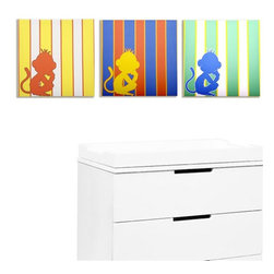 Modern Littles - Rusty Monkey Land Canvas Print Set of 3 - Why not monkey around in your child's room? Silhouettes against bold stripes are more sassy than sweet, and the bright primary colors are totally kid-approved.