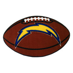 Fanmats - NFL San Diego Chargers Football Shaped Accent Floor Rug - Features: