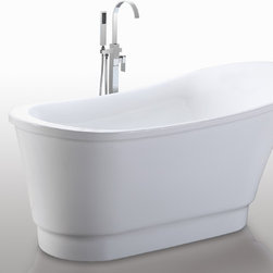 "HelixBath Olympia Freestanding Acrylic Soaking Bathtub 67"" White - Olympia, the deepest of the Helixbath soaking tubs. Contemporary windswept features. Ergonomic human design for hours of comfortable rejuvenation. Faucets pictured are for display purposes and not included with this tub. Designs created for bathing purists. The curves and lines are well conceived & uncomplicated. Helixbath�s well tailored soaking tubs provide an ergonomic comfortable spa experience. Featuring an easy to clean 3M Fade Resistant finish and stainless steel frame, Olympia is the very definition of beautiful longevity."