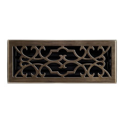 """Brass Elegans 120E AB Brass Decorative Floor Register Vent Cover - Victorian Scr - This antique brass finish solid brass floor register heat vent cover with a victorian scroll design fits 4"""" x 12"""" x 2"""" duct openings and adds the perfect accent to your home decor."""