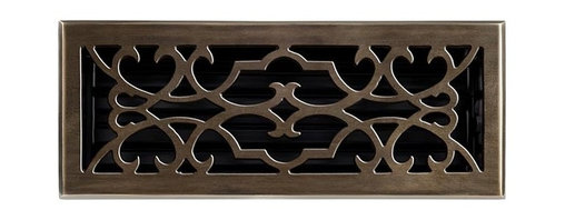 "Brass Elegans 120E AB Brass Decorative Floor Register Vent Cover - Victorian Scr - This antique brass finish solid brass floor register heat vent cover with a victorian scroll design fits 4"" x 12"" x 2"" duct openings and adds the perfect accent to your home decor."