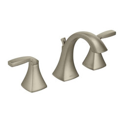 Moen - Moen Voss Brushed Nickel Two-handle High Arc Bathroom Faucet - This two-handle faucet has a modern design that transforms the look of your bathroom. The Moen Voss brushed-nickel faucet features an attractive high-arc spout and two lever handles that do not tarnish or corrode,so it remains beautiful for years.