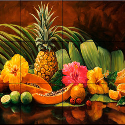 The Tile Mural Store (USA) - Tile Mural - Tropicana - Kitchen Backsplash Ideas - This beautiful artwork by Laurie Snow Hein has been digitally reproduced for tiles and depicts a table full of tropical fruit.  This fruit and vegetable themed tile mural is perfect to add interest to your kitchen backsplash tile project.  Images of fruits and vegetables on tile are timeless and make an impressive kitchen backsplash idea. Wall tiles with pictures of fruits and vegetables add interest to your kitchen backsplash wall tile project.