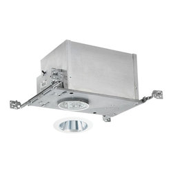 Juno Lighting Group - 4-inch Low-Voltage Recessed Lighting Kit with Clear Trim - IC44N/447C-WH - This low-voltage recessed lighting kit features 4-inch insulation-ready housing and a downlight cone with 35-degree vertical adjustment, a glare-reducing clear Alzak� finish and white outside trim. The housing can be completely covered with insulation. It is air-tight which reduces heating and cooling costs. It comes with a thermally protected magnetic transformer. The hangers are expandable up to 25 inches. Alzak� is an anodized, hand-polished aluminum reflector with superior glare reduction. Takes (1) 50-watt halogen MR-16 bulb(s). Bulb(s) sold separately. Dry location rated.
