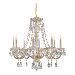 Crystorama - Crystorama 5048-PB-CL-MWP Traditional Crystal 8 Light Chandeliers in Polished Br - Traditional crystal chandeliers are classic, timeless, and elegant. Crystorama''s opulent glass arm chandeliers are nothing short of spectacular. This collection is offered in a variety of crystal grades to fit any budget. For a touch of class, order this collection in Gold for traditionalists or in Chrome to match your contemporary or transitional decor.