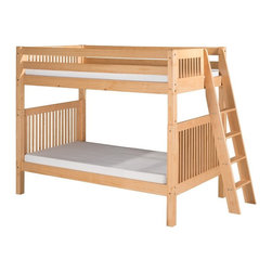 Camaflexi - Camaflexi Mission Headboard Twin over Twin Bunk Bed with Lateral Angle Ladder - - Shop for Bunk Beds from Hayneedle.com! Space-saving and stylish the Camaflexi Mission Headboard Twin over Twin Bunk Bed with Lateral Angle Ladder is ideal when your family is growing and your space is not. It's constructed of solid wood and the upper bunk is equipped with front and rear safety guard rails. Both beds feature slat roll foundations reinforced with a center rail support system that is comfortable and doesn't require a box spring. The extra wide grooved step ladder and safety guard rails are conveniently interchangeable. This bed set has a timeless mission design and comes in select classic finish options. Add on the optional storage drawers or trundle to maximize functionality. We take your family's safety seriously. That's why all of our bunk beds come with a bunkie board slat pack or metal grid support system. These provide complete mattress support and secure the mattress within the bunk bed frame. Please note: Bunk beds and loft beds are only to be used by children 6 years of age or older. About CamaflexiCamaflexi designs furniture that grows with your children. They offer safety durability and beautiful furniture designs that you and your children will love. Camaflexi is a proud member of the sustainable furnishings council. All Camaflexi beds are made of solid wood and built to stand the test of time. They are all tested and certified to meet all government and industry safety standards. Camaflexi ladders and steps are extra wide to be safer for your children. Camaflexi creates furniture for growing children.