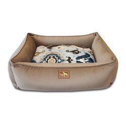 "Luca for Dogs - Large Coco Lounge Bed, Heirloom Blue - This beautifully designed bed allows your dog to stretch out and stay ultra cozy. Our signature ""easy-wash"" sheet covers make washing easy and quick. Overstuffed with 100% recycled fiber. Nylon liner protects the inner pillow. 100% washable."